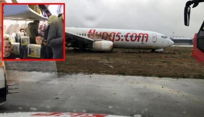 Sabiha Gökçen'de uçak pistten çıktı!