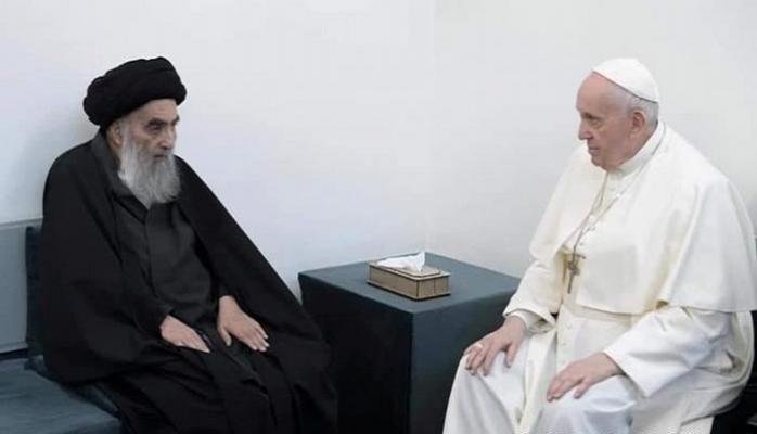 Papa Irak'ta Ayetullah Ali el Sistani ile görüştü